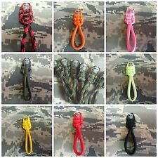 USA Made 550 Paracord Zipper Pulls Lot of (6) or (12) - 24 colors your choice