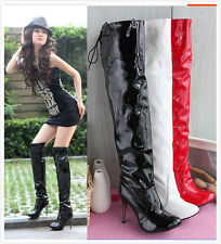 Womens Patent Leather Lace Up Over Knee Thigh High Boot Sexy Pleated Zip Plus Sz