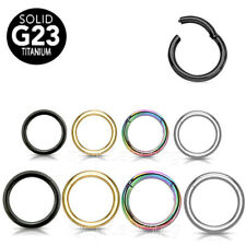 G23 Titanium Seamless Hinged Segment Ring Nose Hoop Ears Cartilage Labret Septum