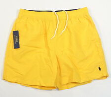 Polo Ralph Lauren Yellow Nylon Brief Lined Swim Trunks Blue Polo Pony Mens NWT