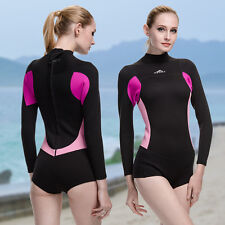 Woman 2mm Neoprene Swimming Wetsuit Long Sleeve Shorts Jumpsuit Surfing Wetsuits