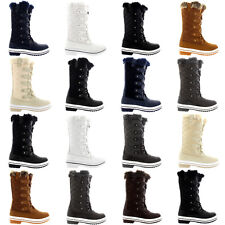 Ladies Quilted Fur Lined Rain Winter Lace Up Duck Warm Shoes Snow Boot All Sizes