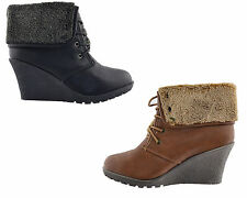 New Ladies Womens Winter Wedge Heel Fur Lined Casual Lace Up Boot Shoe Size 2-8