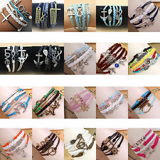 Hot Jewelry fashion Retro Style PU Cute Charm Bracelets Choose NO.1 -NO.20