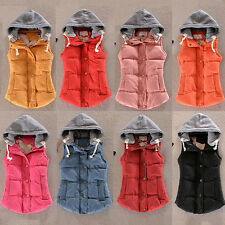Winter Women's Thick Warm Vest Fashion Slim Down Cotton Hooded Jacket Coat M-4XL