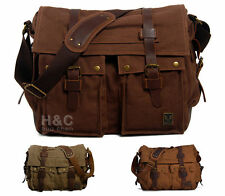 "Men Canvas Leather Satchel Military 15"" Laptop  Shoulder School Messenger Bag"
