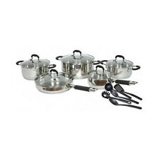 Stainless Steel Cookware Sets Gourmet Chef 15 Pc Kitchen Pots Pans Skillet Lids