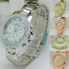 Fashion Geneva Women Ladies Girl Unisex Stainless Steel Quartz Wrist Watch
