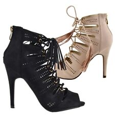 Womens Stilletto Hieght Heels Lace Up Shoes Party Ankle Wrap Sandals Size UK
