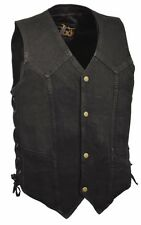 Men's Black or Blue Denim Side Lace Biker Vest w/ Classic Snap Front for Design