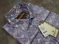 NEW Mens MANZINI Button Dress Shirt Sky Blue Red Paisley with Sheen French Cuff