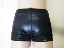 NEW BLACK SHINY FOIL BIKE SHORTS All Sz Gymnastics Leotard