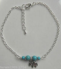 Tibetan silver plated chain gemstone anklet ankle bracelet choice of charm+size