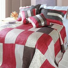 DaDa Bedding Metallic Red Brown Gold Checkered Square Coverlet Bedspread Set