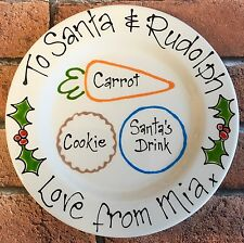 Personalised Handpainted Christmas Eve Treat Santa Cookie Plate Xmas Eve Gift