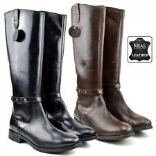 Ladies Womens Knee High Flats Black Winter Boots Real Leather Zip Up Boots Size