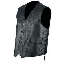 NWT Mens Black Leather Motorcycle Biker Vest Bike Tour Lace Buffalo M L XL 2X 3X