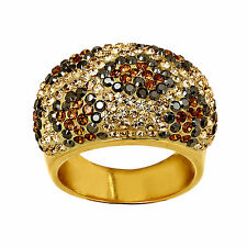 Crystaluxe Leopard Dome Ring w/ Swarovski Crystals 18K Gold over Sterling Silver