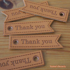 "5/ 20pcs: Flag Shape Swallowtail Synthetic PU Leather Labels ""Thank You"" Sewing"