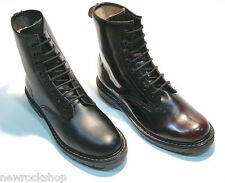 New Grinders Cedric Black Red Leather Combat 8 Hole Derby Boots Punk Rock