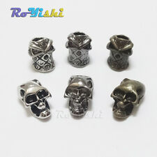 Single Vertical Hole Metal Skull Beads for Paracord Knife Lanyards