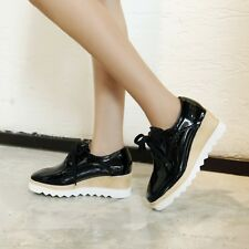Fashion Womens Patent Leather Casual Shoes Wedge Heel Lace-up Creeper Pump Shoes