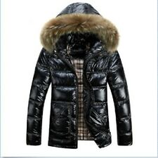 Mens shiny color Down coat fur collar hooded jacket winter warm thick size M-8XL