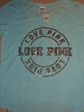 "VICTORIAS SECRET PINK BLING SEQUIN ""LOVE PINK"" SCOOPNECK TEESHIRT  NWT"