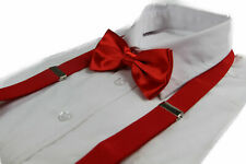 MENS 2 PIECE: RED ADJUSTABLE MEN'S LADIES SUSPENDERS BRACES + PRE-TIED BOW TIE