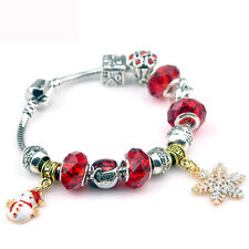 European Style Xmas Design With Charm Snowflake Snowman Beads Bracelet For Gift