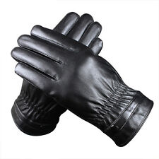 Mens Driving Winter Warm Gloves Genuine Soft Sheep Leather Fleece Lined Black