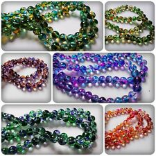 50 x Transparent Mottled Effect Glass Beads - Round - 8mm [Various Colours]