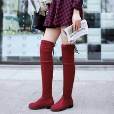 Fashion Faux Suede Pull On Chunky Heel Platform Women Thigh Over Knee High Boots