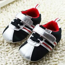 Baby Boy Girl Toddle infant Black Soft Sole Crib Shoes Sneaker Size 0-18Months[
