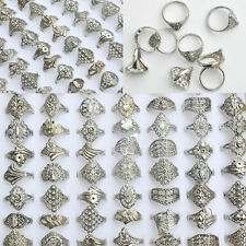 50/100Pcs Vintage Tibet Flower Silver Rings Wholesale Mixed Lots Costume Jewelry
