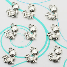 Free Shipping Retro Style Cute little fox Alloy Antique Charms Making Pendants