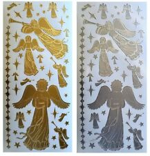 CHRISTMAS ANGELS Peel off Stickers Stars Heaven Religion Gold Silver Card Making
