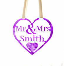 Personalised Wedding Mr & Mrs Good Luck Heart Bridal Gift and lucky Keepsake