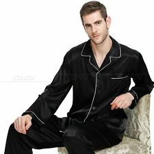 Mens Silk Satin Pajamas Pyjamas  Set  Sleepwear Loungewear S~4XL__Plus Size