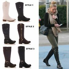 LADIES WOMENS RIDING BOOTS LONG LEG FAUX LEATHER WINTER CASUAL FLAT SHOES SIZE