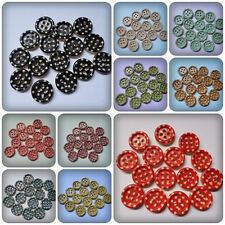15 x 4-Hole Printed Wooden Buttons - 15mm - Round - Polka Dot [Various Colours]