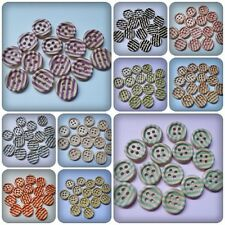 15 x 4-Hole Printed Wooden Buttons - 15mm - Round - Stripes [Various Colours]