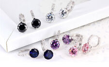 Unique 18k White Gold Filled Swarovski Crystal Charming Hoop Earring Fit Gift T