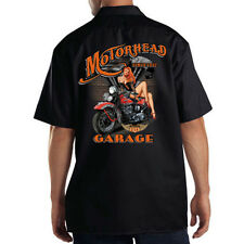 Dickies Black Mechanic Work Shirt Motorhead Garage Motorcycle Biker Pin Up Girl