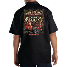 Dickies Black Mechanic Work Shirt Full Service With A Smile Route 66 Pin Up Girl