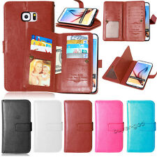 Luxury 9 Card slot Flip Leather Wallet Stand Pouch Case Cover For Samsung Galaxy