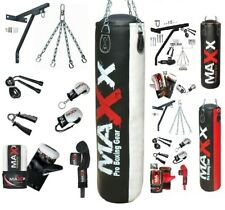 Maxx 17Piece Boxing Set 5ft Filled Heavy Punch Bag Gloves Bracket Chains MMA Pad