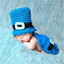 Newborn Baby boys Crochet Knit Costume Photo Photography Prop Outfits Top Hat