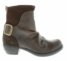New Fly London Mel Women's Dk Brown Leather Medium Heel Zip Up Ankle Boots