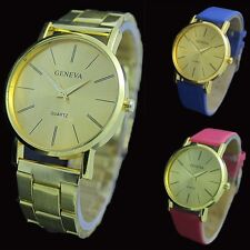 New Casual Geneva Leather/Stainless Steel Quartz Wrist Watch